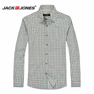 杰克琼斯春秋男士英伦时尚格子百搭修身长袖衬衫17-4-1-213105064047