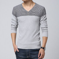 秋款男士毛衣韩版男装V领针织衫 男薄款针织线衫潮