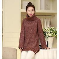 高领打底衫秋冬季韩版女装毛衣中长款套头宽松加厚针织衫