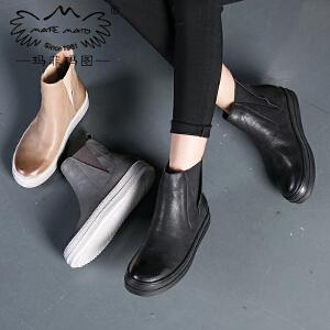 【跨店铺满200-100】玛菲玛图秋冬平底短靴加绒保暖马丁靴女英伦风切尔西靴女士套筒靴362-10L