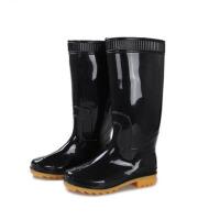 谋福 男士中高筒雨靴雨鞋 牛津套鞋 橡胶鞋 防水 防滑 黑色 黄底 工矿用
