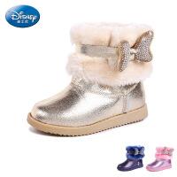 迪士尼童鞋2016秋冬女童皮鞋小童保暖时尚雪地靴休闲皮靴 S70852