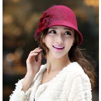 时尚气质花朵羊毛呢 女秋冬渔夫盆帽圆顶小礼帽子 时装帽