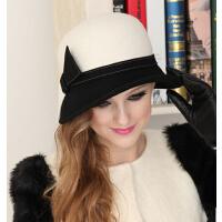 冬季帽子女黑白色春秋女士帽子秋款冬天 英伦礼帽羊毛呢  复古