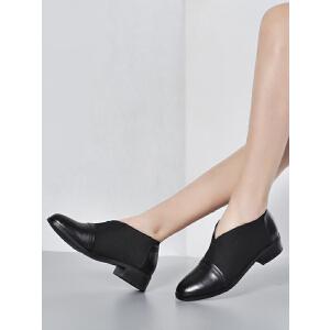 2017春季真皮单鞋女时尚欧美风粗跟深口显瘦牛皮女鞋弹力布0802