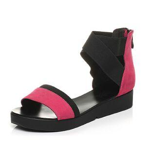 Teenmix/天美意夏专柜同款牛皮/织物时尚撞色女凉鞋AK78TBL5