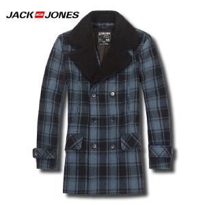 杰克琼斯秋冬季男士简约潮流时尚格子撞色毛呢外套24-2-1-211427037030