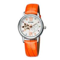 艾奇 正品EYKI韩国时尚皮带女表 全自动机械表 镶钻时装表女士手表AEFL8543