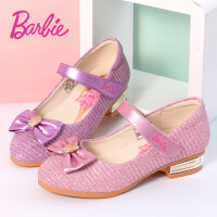 芭比童鞋 女童皮鞋2017春秋季新款粉色儿童3-12岁公主鞋小女孩蝴蝶结学生单鞋