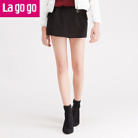 Lagogo/拉谷谷冬季新款女装黑色秋冬女裤休闲短裤裙裤FDKK73G731
