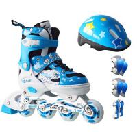 儿童闪光直排轮滑鞋旱冰鞋 可调单排送全套护具 小孩溜冰鞋