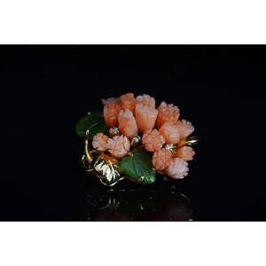 现代 MOMO珊瑚花篮胸针