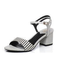 Tata/他她2017年夏季专柜同款印花牛皮经典条纹女皮凉鞋2R315BL7