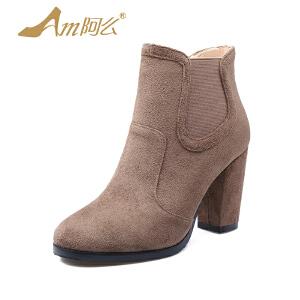 【17新品】圆头粗跟女鞋套脚纯色女靴高跟短靴骑士靴女