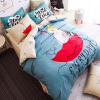 【免邮】伊迪梦家纺 全棉单人床三件套 纯棉简约卡通文艺风家纺床上用品套件学生儿童床1.6被套1.2m米床BY831