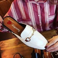 2017夏季新款拖鞋女欧美春夏粗跟方头漆皮百搭珍珠鞋包头中跟搭扣懒人半拖鞋子女单鞋mm139