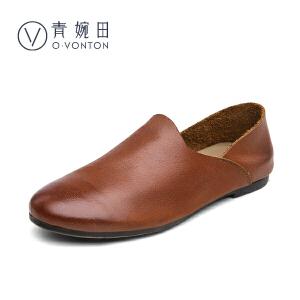 青婉田2017新款文艺复古女鞋单鞋女平底鞋套脚真皮手工鞋