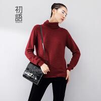 初语冬季新款 高领羊绒毛衣文艺休闲纯色百搭上衣女8440423190