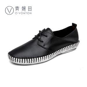 青婉田2017新款春鞋真皮复古单鞋女平底舒适洗色软底休闲女士皮鞋