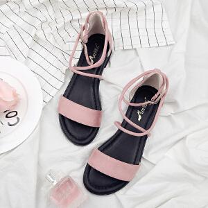 阿么2017夏季新款韩版凉鞋女平底鞋休闲学生交叉绑带低跟鞋子