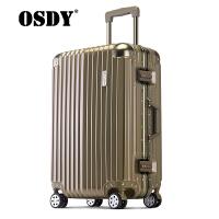 【可礼品卡支付】OSDY新款旅行箱 铝框行李箱 高品质商务旅行箱登机箱 出国托运箱耐压抗摔 海关锁静音万向轮箱子A6111