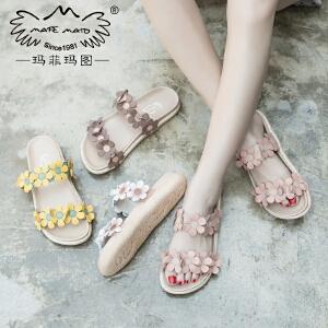 玛菲玛图夏天拖鞋女外穿17新款潮时尚复古一字学生平底花朵凉拖鞋817-31