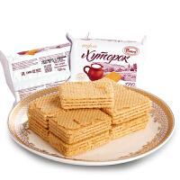 俄罗斯进口农庄威化饼干500g 膨化饼干 零食小吃 进口食品
