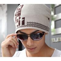 冬帽字母毛线帽子时尚韩版潮帽户外包头帽 针织帽男士  男士冬天帽子