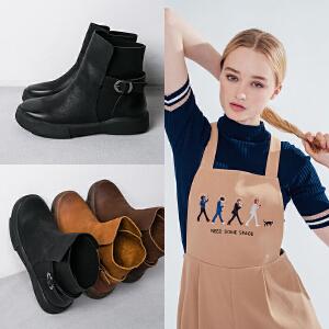 玛菲玛图秋冬平底马丁靴复古厚底女短靴皮带扣单靴子圆头女短筒靴大码马丁靴009-23