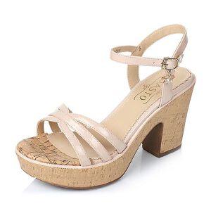 BASTO/百思图夏季专柜同款牛皮时尚粗高跟女凉鞋TGH04BL6