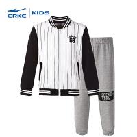 鸿星尔克(ERKE)童装套装儿童春季套装 男童运动套装 韩范棒球服上衣九分裤