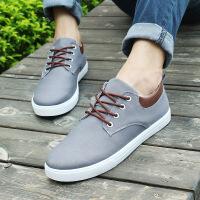 新款男鞋板鞋系带平底休闲时尚单平底系带帆布鞋子男学院风休闲鞋A16YF