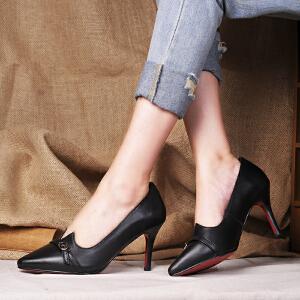 贝鸵秋新真皮女鞋浅口单鞋女高跟牛皮鞋优雅细跟小尖头时装鞋简约
