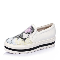 Tata/他她春季专柜同款牛皮革/织物女单鞋2KE24AM6