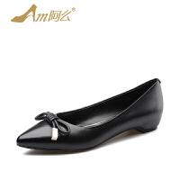 【17新品】阿么牛皮尖头低跟单鞋蝴蝶结韩版时尚女鞋浅口内增高鞋子