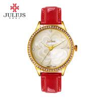 聚利时韩国潮流时尚腕表幸运四叶草真皮带女士手表简约水钻手表