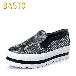 BASTO/百思图春季专柜同款牛皮时尚休闲女休闲鞋TV322AM6