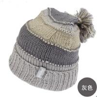 女士时尚百搭冬季帽子翻边毛线帽大毛球堆堆帽冬帽