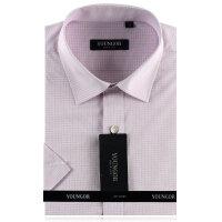 YOUNGOR雅戈尔 粉紫色细格DP全棉免烫短袖衬衫SDP14681-43