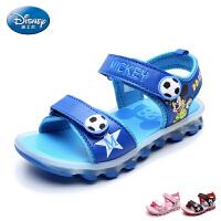 迪士尼童鞋儿童闪灯凉鞋2017夏季新款小童露趾灯鞋男童女童沙滩鞋