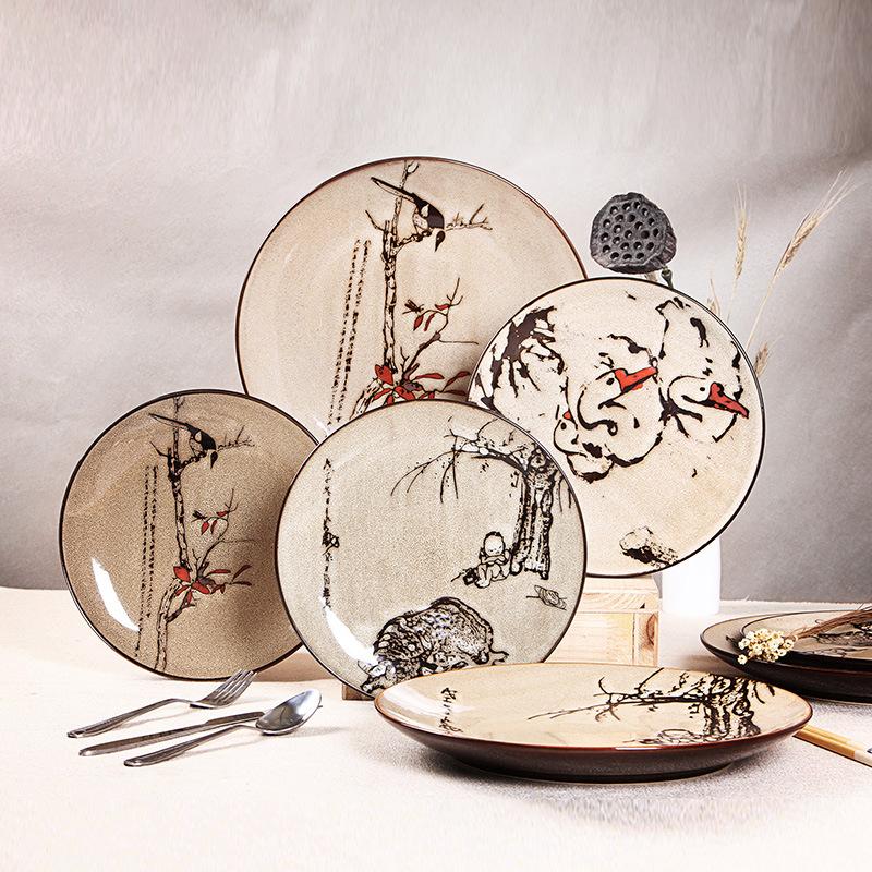 个性复古创意装饰西餐厅挂摆盘手绘陶瓷盘子 特色艺术餐具挂盘摆盘