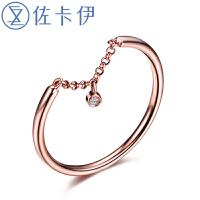 佐卡伊 玫瑰18K金钻戒 钻石戒指女戒时尚个性女戒 珠宝首饰