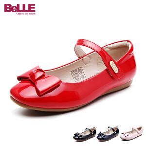 百丽童鞋17年夏季新款女童皮鞋蝴蝶结中大童单鞋舞蹈鞋亲子鞋 DE0333