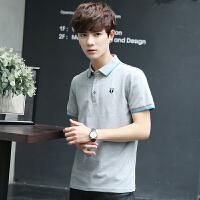 地球城男士短袖t恤男韩版修身翻领男装纯色polo衫半袖衣服