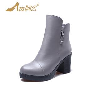 【冬季清仓】阿么加绒复古英伦高跟踝靴防水台粗跟短靴子短筒单靴女鞋保暖冬靴