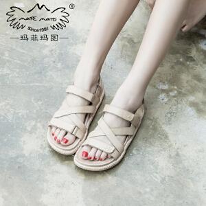 玛菲玛图17新款女土凉鞋新款夏天舒适中跟防水台复古魔术贴裸色罗马凉鞋817-3D