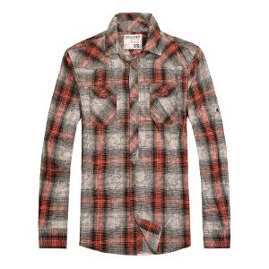 杰克琼斯秋冬季男士商务修身休闲格子百搭衬衫1-2-1-213105067070