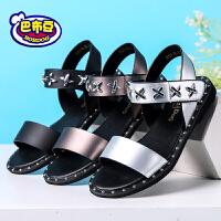 16cm~23.5cm巴布豆童鞋女童凉鞋2017新款潮夏女孩公主鞋平底凉鞋中小童女童鞋