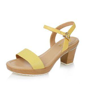 Belle/百丽夏季专柜同款压花山羊皮革女皮凉鞋3ZFC9BL6