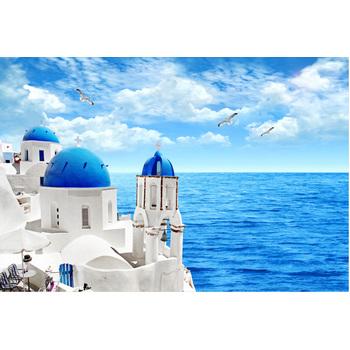 1000片木质拼图1500 成人智力玩具 风景 爱琴海 海鸥